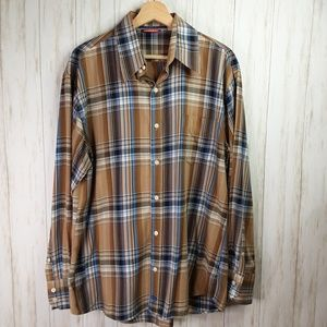 Unionbay Brown Plaid Shirt Cotton L/S Large Mens